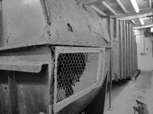 The giant ventilator shaft extracted radon from the mine before its closure in the early 80s.